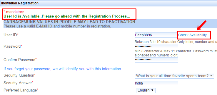 fill up irctc railway registration form