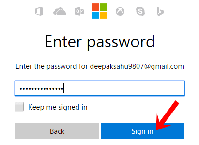 enter microsft sign in password