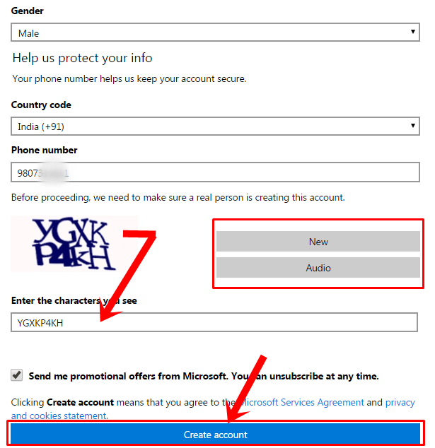 microsoft account sign up page