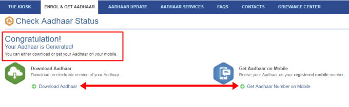 see your aadhar application status and download