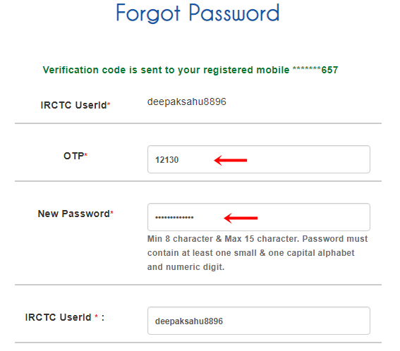 enter mobile otp captcha for irctc password reset