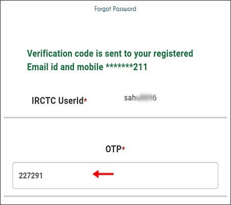 enter otp for irctc password reset