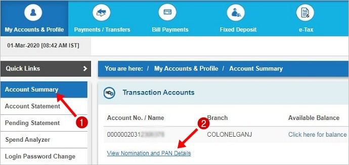 sbi net banking account summary